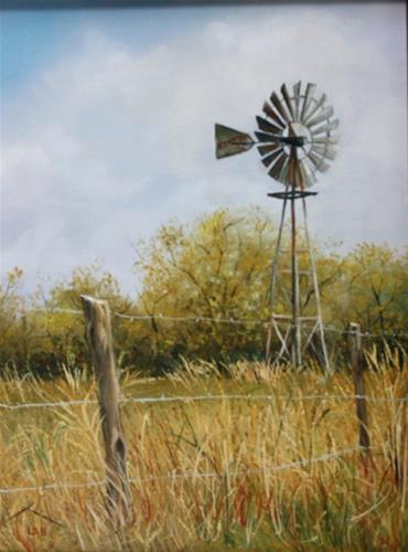 """Texas Windmill"" original fine art by Linda Dunbar"