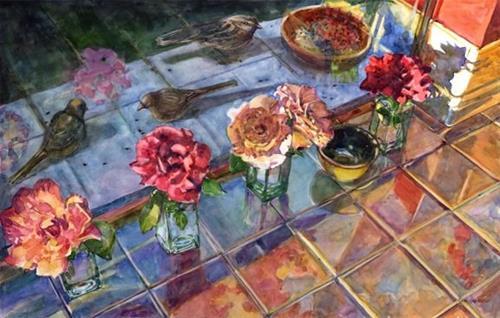 """""""Watercolor: Early Bird Breakfast"""" original fine art by Belinda Del Pesco"""