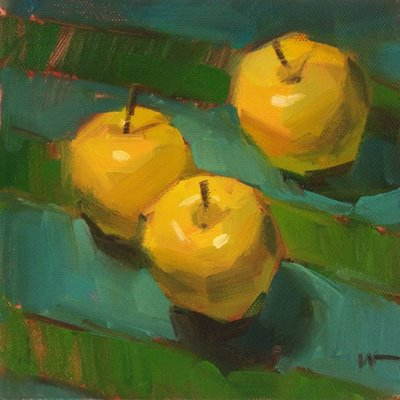 """Apple Olympics --- SOLD"" original fine art by Carol Marine"