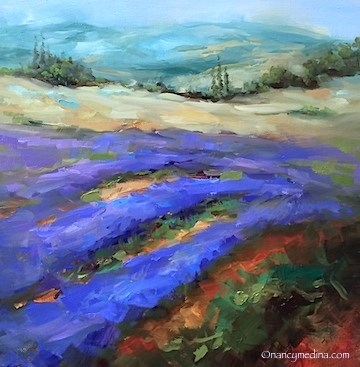 """Gone to Seed Lavender Field - Flower Paintings by Nancy Medina"" original fine art by Nancy Medina"