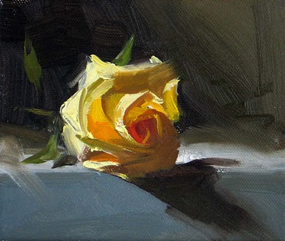 """Yellow Rose --- Sold"" original fine art by Qiang Huang"