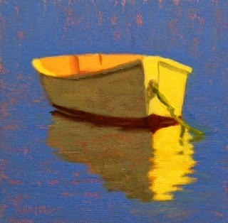 """Dinghy in Blue"" original fine art by Bobbi Heath"