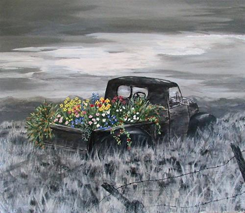 """Vintage Truck Painting, Landscape, Flowers, Fine Art Painting Journey's End  by Mary Arneson Art-W"" original fine art by Mary Arneson"
