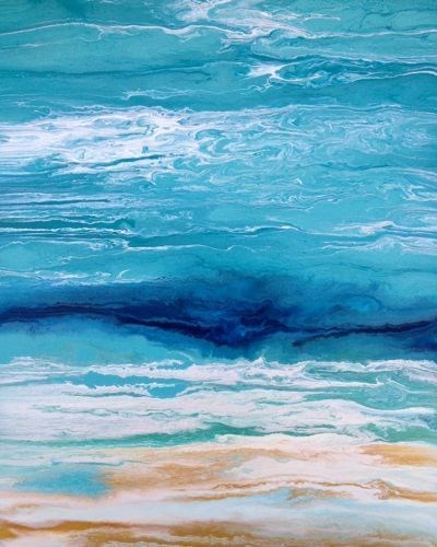 """Abstract Seascape,Coastal Living Decor,Beach Art Royal Wave II by Colorado Contemporary Artist Kim"" original fine art by Kimberly Conrad"
