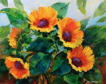 """A Brush With Summer Sunflowers - Flower Paintings by Nancy Medina"" original fine art by Nancy Medina"