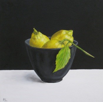 """Lemons on black & white"" original fine art by Pera Schillings"