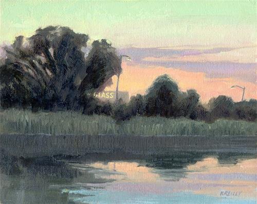 """""""Cattail Dawn"""" original fine art by Kath Reilly"""