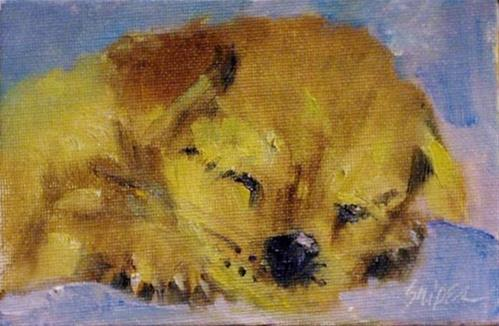 """Sleeping Puppy"" original fine art by Connie Snipes"