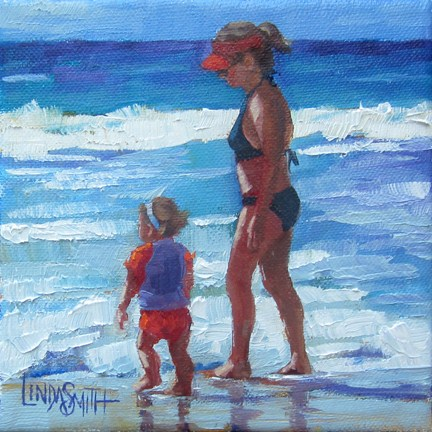"""First Beach Walk"" original fine art by Linda K Smith"