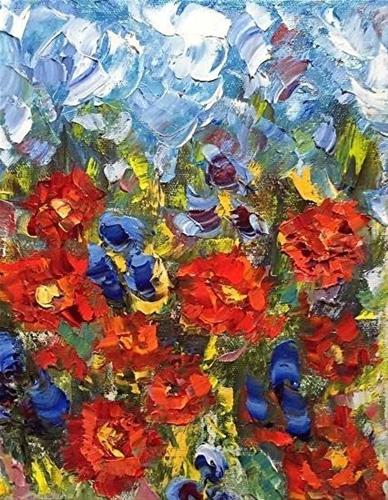 """Palette Knife Poppy Landscape Painting Poppycock-2 by Colorado Impressionist Judith Babcock"" original fine art by Judith Babcock"