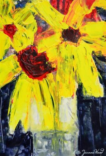"""Yellow acrylic floral painting No 200"" original fine art by Katie Jeanne Wood"