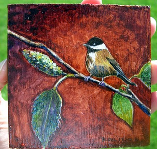 """Watercolor on Wood: Chickadee"" original fine art by Belinda Del Pesco"