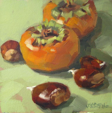 """Persimmons & Chestnuts"" original fine art by Karen Werner"
