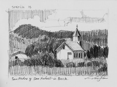 """San Pedro From the Back_church, sketch, New Mexico, southwest"" original fine art by V.... Vaughan"