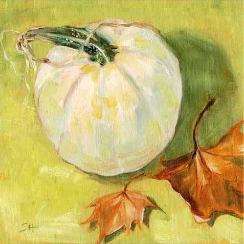 """""""White Pumpkin"""" original fine art by Sandy Haynes"""