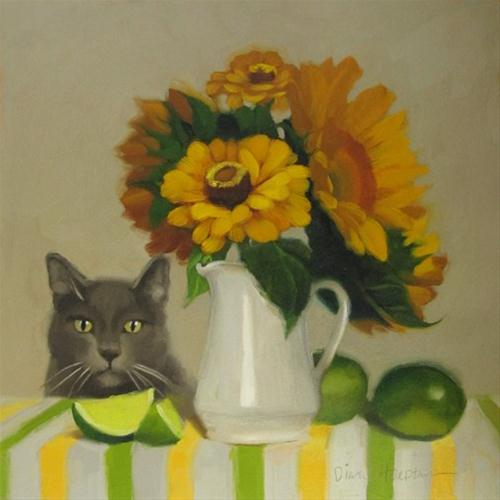 Zinnias and Coco oil painting of cat and sunflowers original fine art by Diane Hoeptner