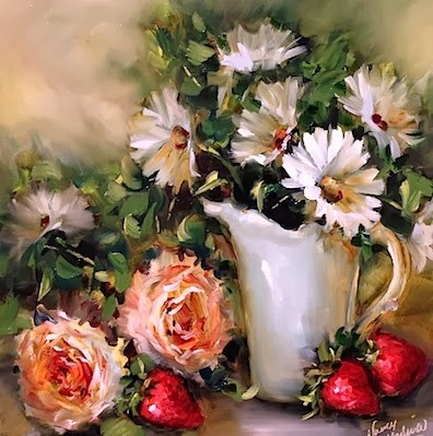 """Tea for Two With Peonies and Strawberries - Flower Painting by Nancy Medina"" original fine art by Nancy Medina"