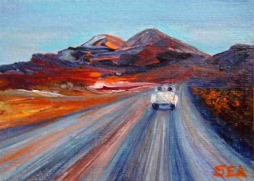 """3018 - DESERT ROAD - ACEO Series"" original fine art by Sea Dean"