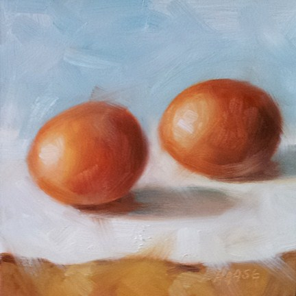 """Two Brown Eggs"" original fine art by Cindy Haase"