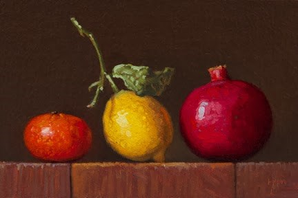"""Golden Series: Tangerine, Lemon with Leaves, & Pomegranate    (+ Feedback about Sedona)"" original fine art by Abbey Ryan"