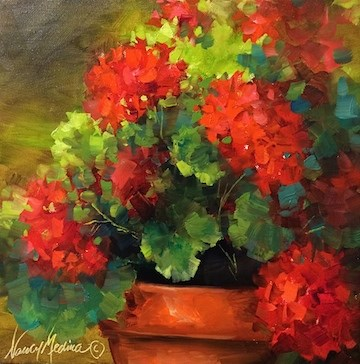 """Summer Siesta Geraniums - Flower Paintings by Nancy Medina"" original fine art by Nancy Medina"