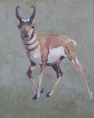 """Original Wildlife , Pronghorn Oil Painting High Plains Speedster  By Colorado Artist Susan Fowler"" original fine art by Susan Fowler"