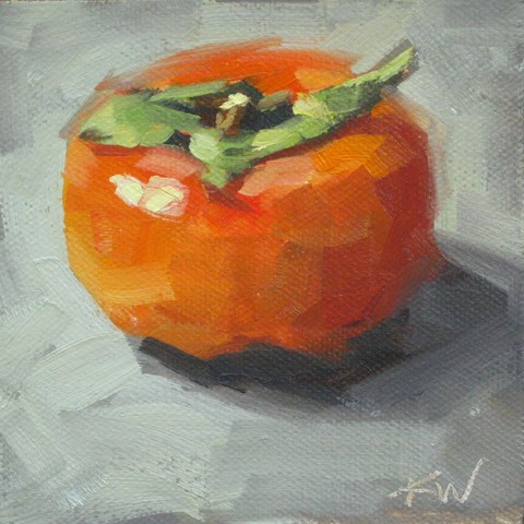 """One Persimmon"" original fine art by Karen Werner"