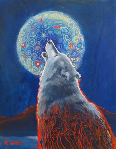 """Original Wolf, Wildlife Painting Why We Howl  by Colorado Artist Nancee Jean Busse, Painter of the"" original fine art by Nancee Busse"