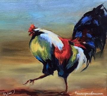 """Rush Hour Rooster - Paintings by Nancy Medina Art"" original fine art by Nancy Medina"