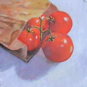"""Bag of Tomatoes"" original fine art by Robert Frankis"