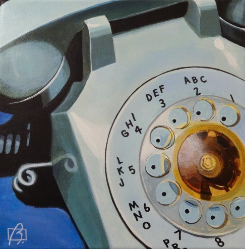 """Blue Rotary Telephone"" original fine art by Andre Beaulieu"