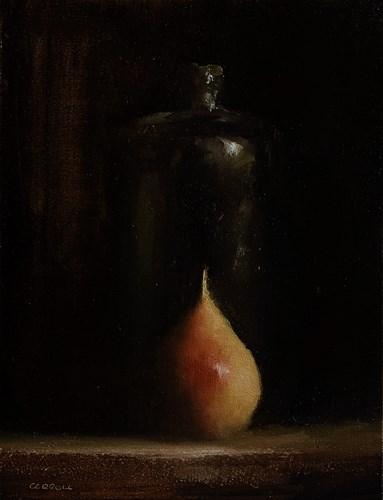 """Bottle with Pear"" original fine art by Neil Carroll"
