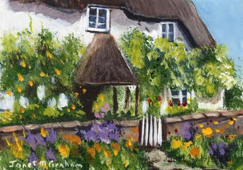 """Country Cottage ACEO"" original fine art by Janet Graham"