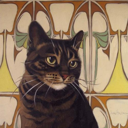 """Back in Time striped cat on art nouveau pattern"" original fine art by Diane Hoeptner"