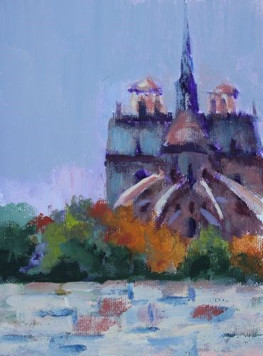 """Notre Dame Cathedral, Paintings of France by Arizona Artist Amy Whitehouse"" original fine art by Amy Whitehouse"
