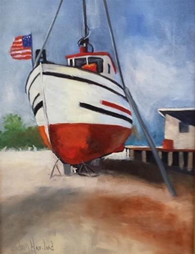 """""""Boat in Dry Dock"""" original fine art by Barbara Haviland"""
