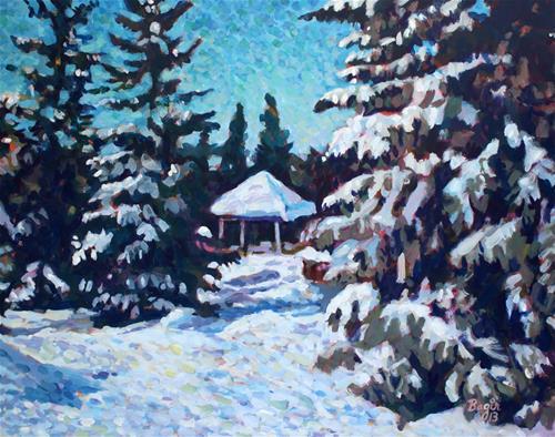 """The Snow Gazebo"" original fine art by Elbagir Osman"