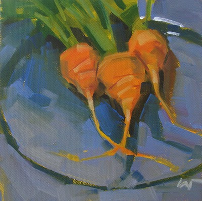 """Ménage à Carrot --- SOLD"" original fine art by Carol Marine"