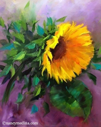 """Purple Spangle Sunflower and a New DVD - Flower Paintings by Nancy Medina"" original fine art by Nancy Medina"