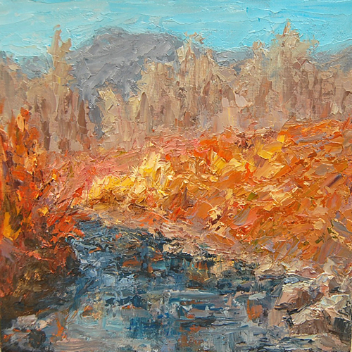 """Autumn Stream"" original fine art by Julie Kirkland"