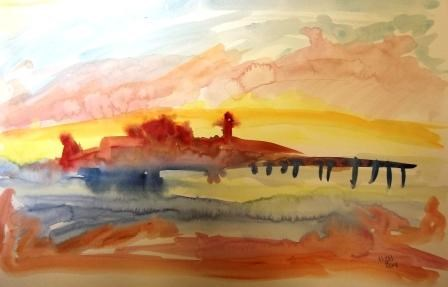 """Lighthouse at Dawn"" original fine art by Nancy Hall"