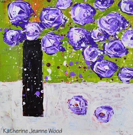 """Purple flower painting No 132"" original fine art by Katie Jeanne Wood"
