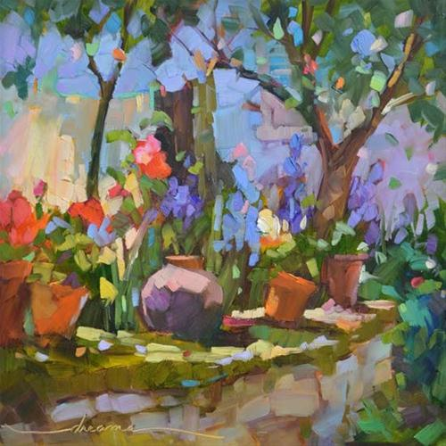 """A Light Dance in the Garden"" original fine art by Dreama Tolle Perry"