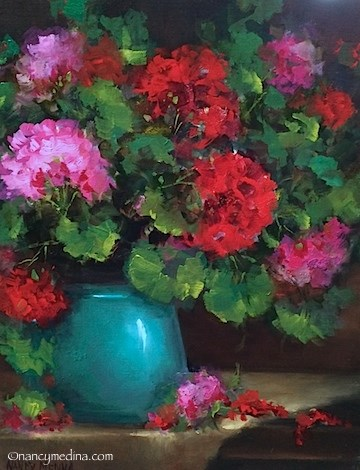 """Reflections on the Art Journey - Pocket Full of Dreams Geraniums - Flower Paintings by Nancy Medina"" original fine art by Nancy Medina"