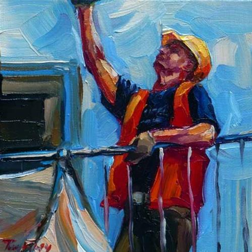 """on the construction site"" original fine art by Jurij Frey"