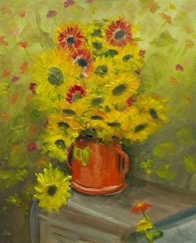 """Sunflowers and Blanket Flowers III"" original fine art by Susan Elizabeth Jones"