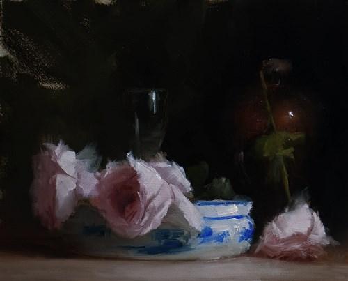"""""""Arrangement with Roses"""" original fine art by Neil Carroll"""