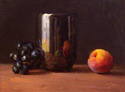 """Still Life with Peach and Black Grapes No. 2"" original fine art by Abbey Ryan"