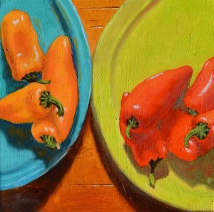 """Colorful Peppers"" original fine art by Robert Frankis"