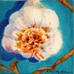 """""""Mini Garlic Bulb, Bright Blue"""" original fine art by JoAnne Perez Robinson"""